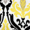 Linen Damask Print Yellow Black 12x19 Throw Pillow