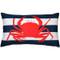 Red Crab Nautical Throw Pillow 12x19