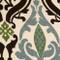 Linen Damask Print Blue Brown 12x19 Throw Pillow Fabric