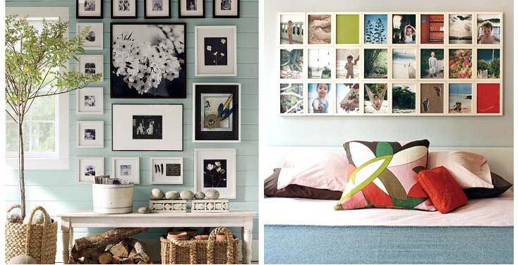 Create an elegant look with personal photos done in black and white, or use pictures to add color Sources: thebudgetdecorator.com curbly.com