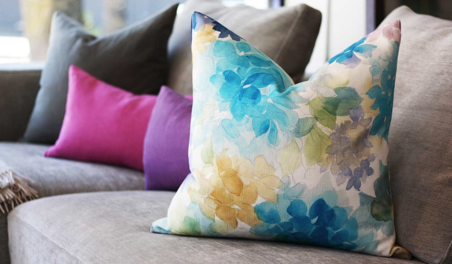 Blue May Flower Throw Pillow