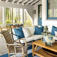 Outdoor pillows inside home