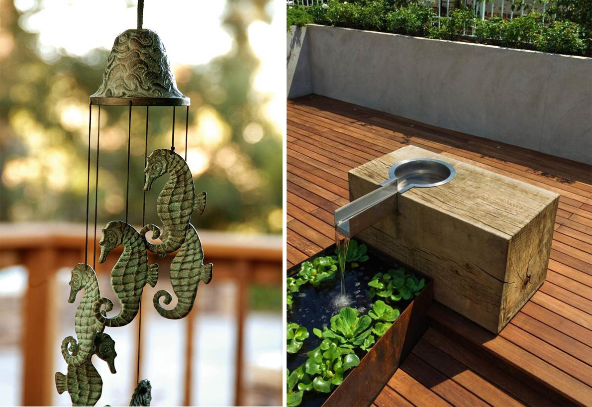 wind chime and fountain