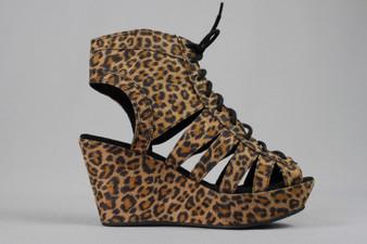 Leopard print lace up wedges sandals - UK 4