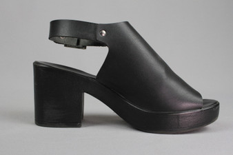 Black high block heel slingback sandals - UK 6