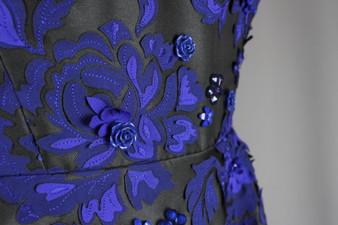 Black dress with blue 3d florals - UK 14
