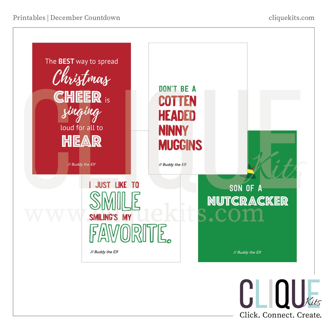 Elf Quotes   Elf Quotes Holiday 2016 Digital Print Clique Kits