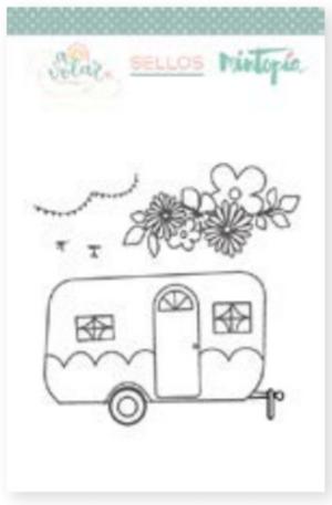 Caravana Con Flores (Camper with Flowers) Stamp Set | Mintopia