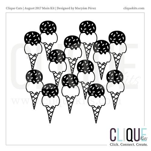 So Much Ice Cream - August 2017 | Digital Die Cut