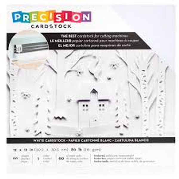 Precision 12x12 White textured Cardstock   American Crafts