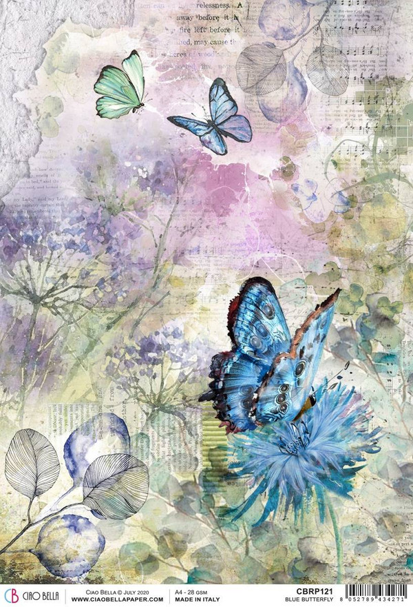 Blue Butterfly Rice Paper | Microcosmos | Ciao Bella