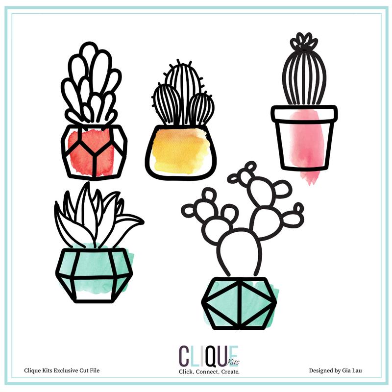 Succulent Potted Plants | Cut Files | Clique International Exclusives