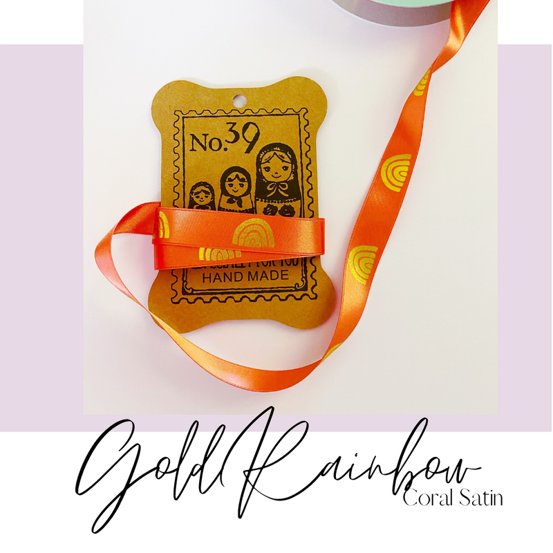 Ribbon by the Yard | Gold Rainbow embossed Coral Satin