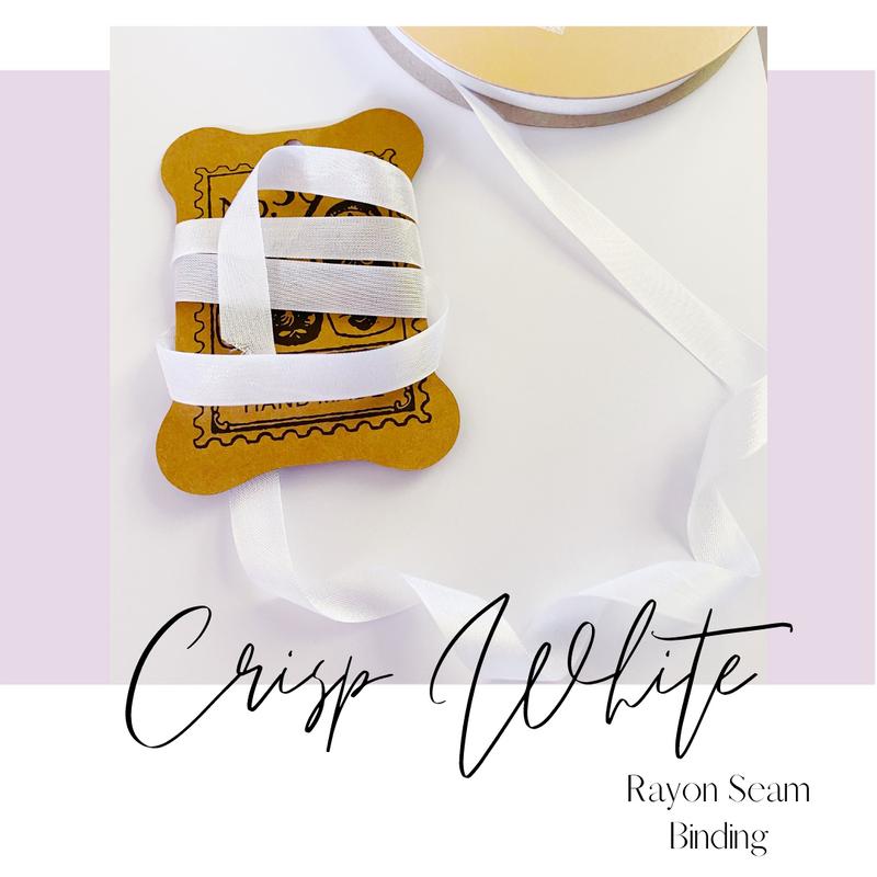 Ribbon by the Yard | Crisp White Rayon Seam Binding