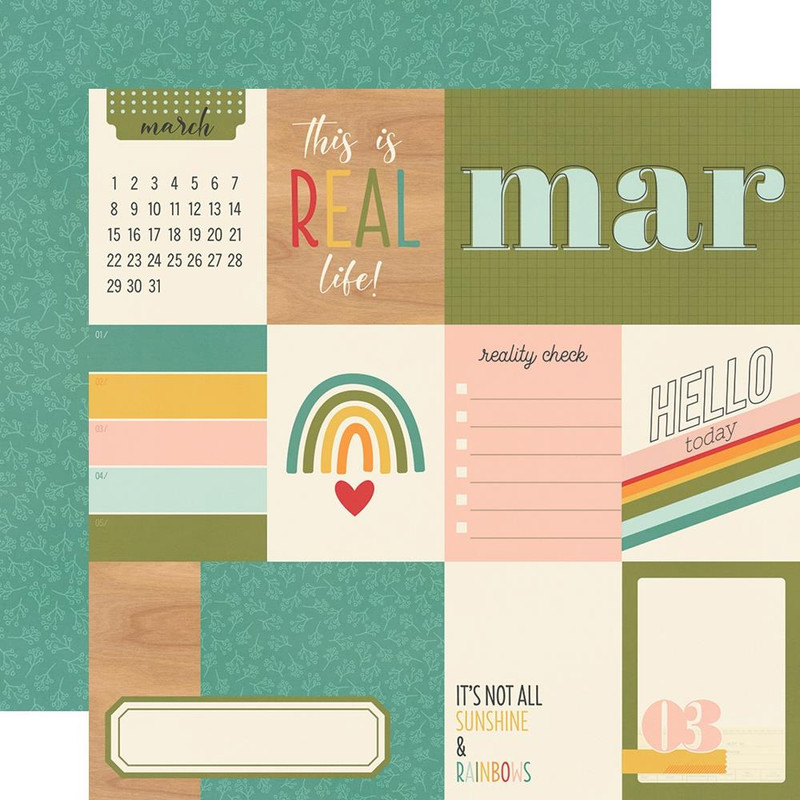 March | 12 x 12 Patterned Paper | Simple Stories -Hello Today
