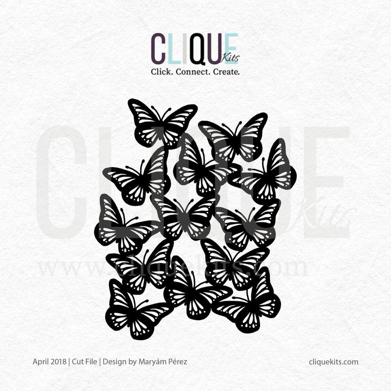 Butterfly Cluster    Digital Cut File