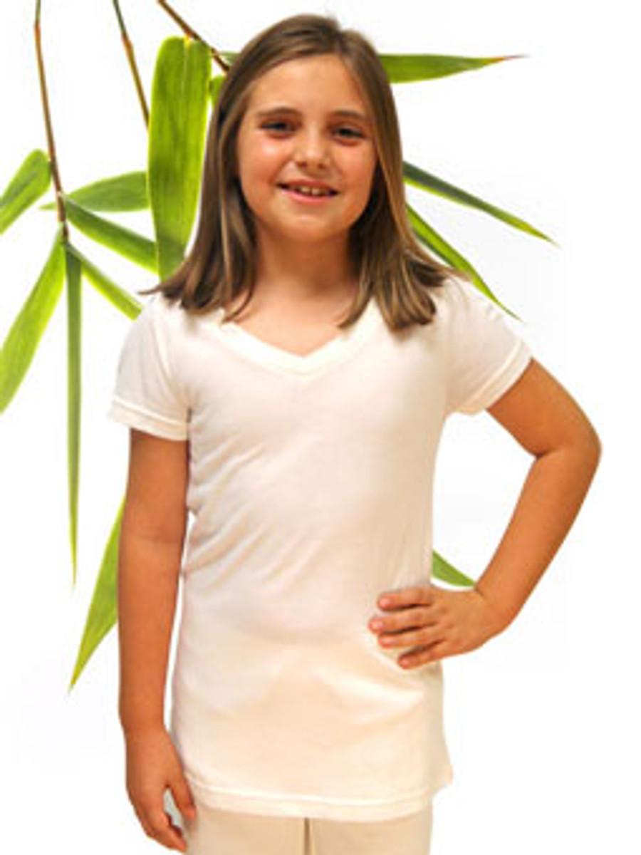 Girls Bamboo and Organic Cotton V-neck Tee shirt