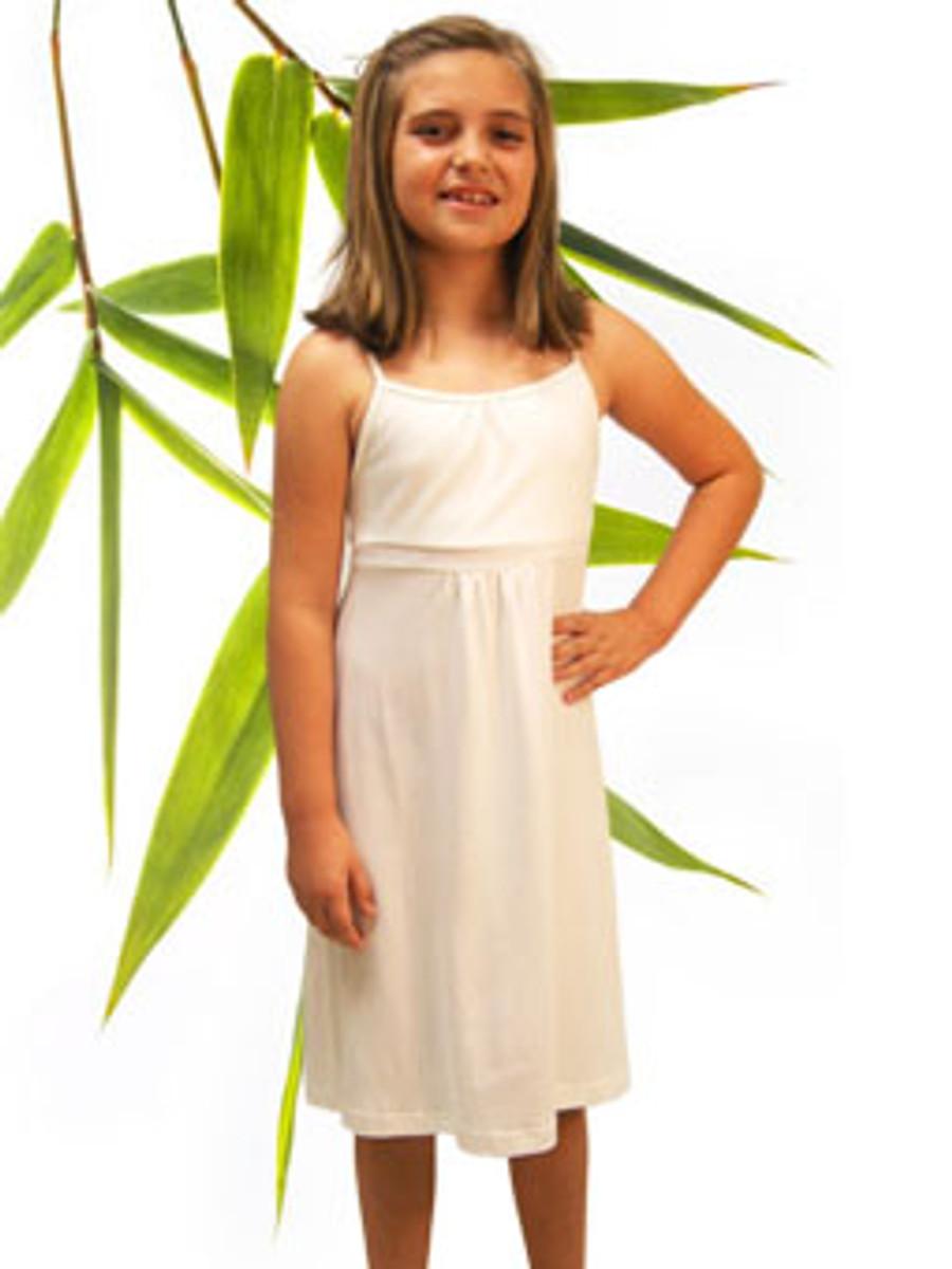 Girls Natural bamboo organic cotton strappy dress