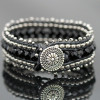 Leather Wrap Cuff Bracelet Kit - Black and Silver