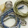 Sage and Surf Leather Five Wrap Bracelet Kit