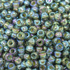 Size 8 Miyuki Seed Beads -- 361 Olivine / Beige Lined AB