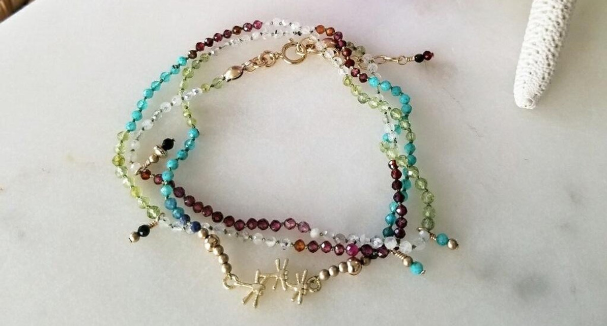 Delicate Dancing Dragonfly 3x Wrap Knotted Gemstone Bracelet