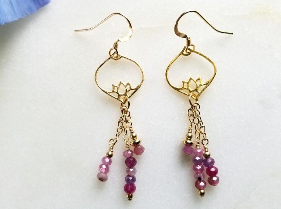 Moroccan Lotus & Ruby Earrings