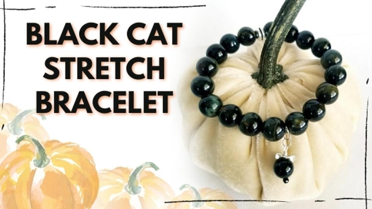 Black Cat Stretch Bracelet