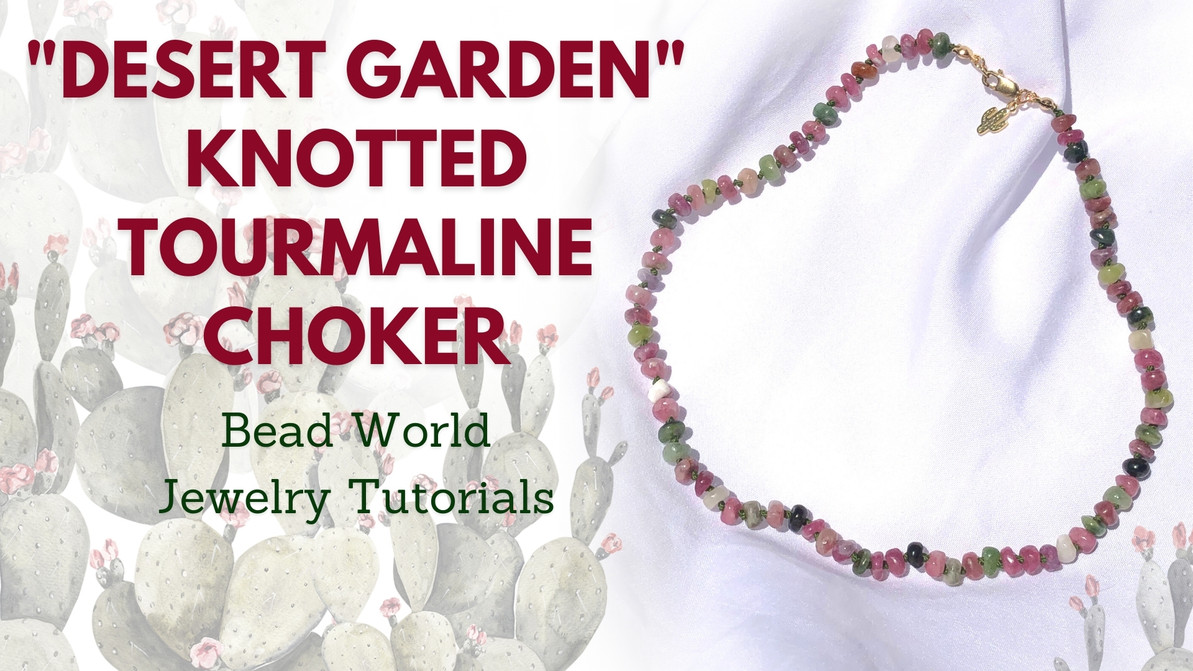 """""""Desert Garden"""" Knotted Tourmaline Choker Necklace"""
