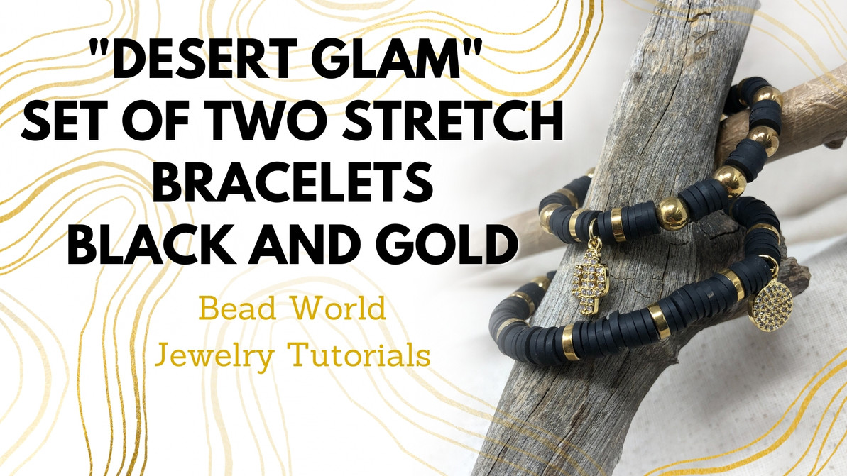 """Desert Glam"" ​Set of Two Stretch Bracelets – Black and Gold"