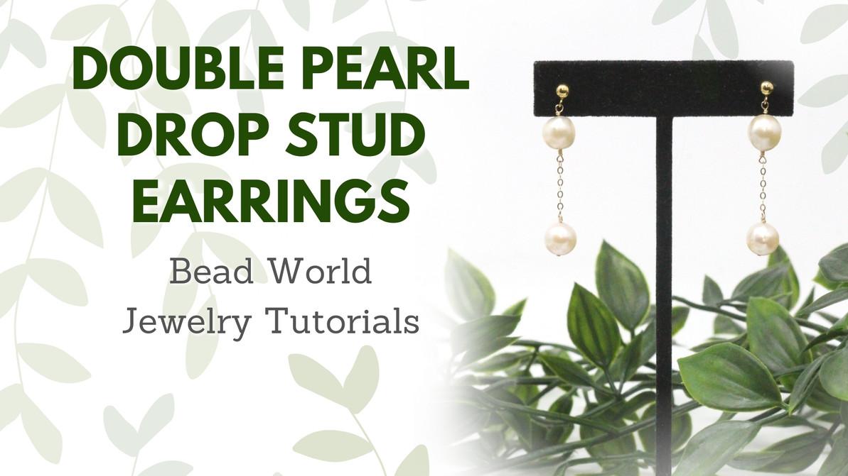 Double Pearl Drop Stud Earrings
