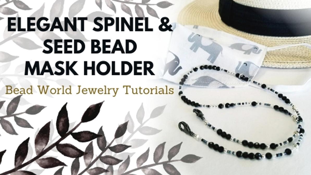 """""""Elegant Spinel & Seed Bead"""" Mask Holder"""