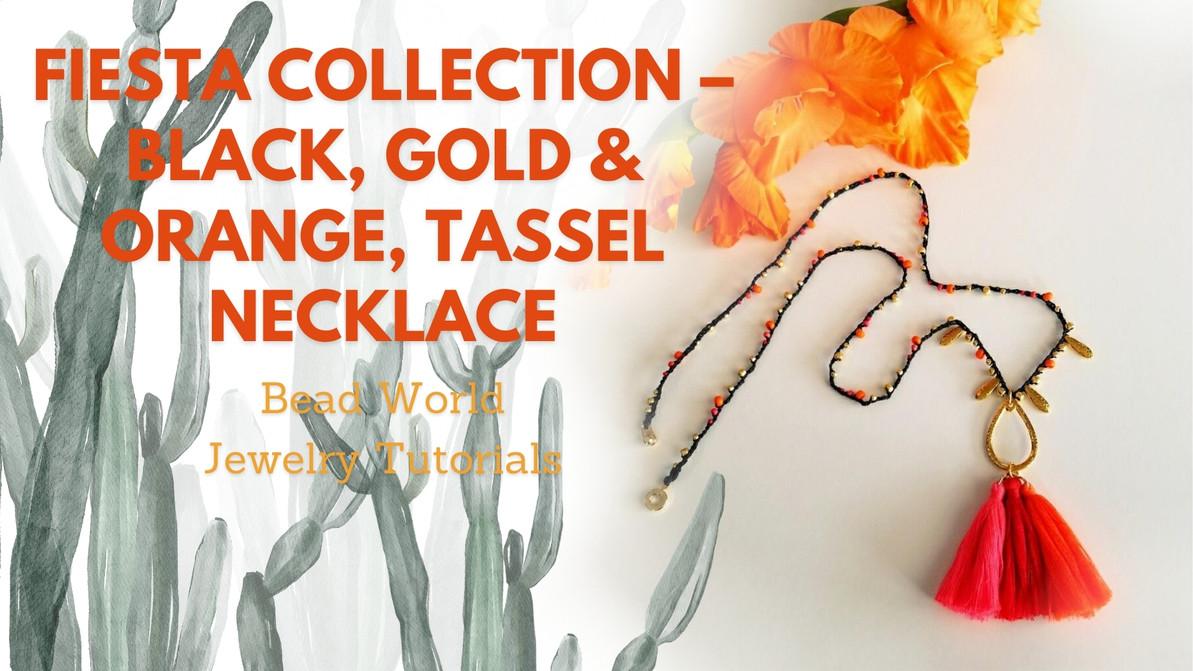 Fiesta Collection – Black, Gold & Orange, Tassel Necklace