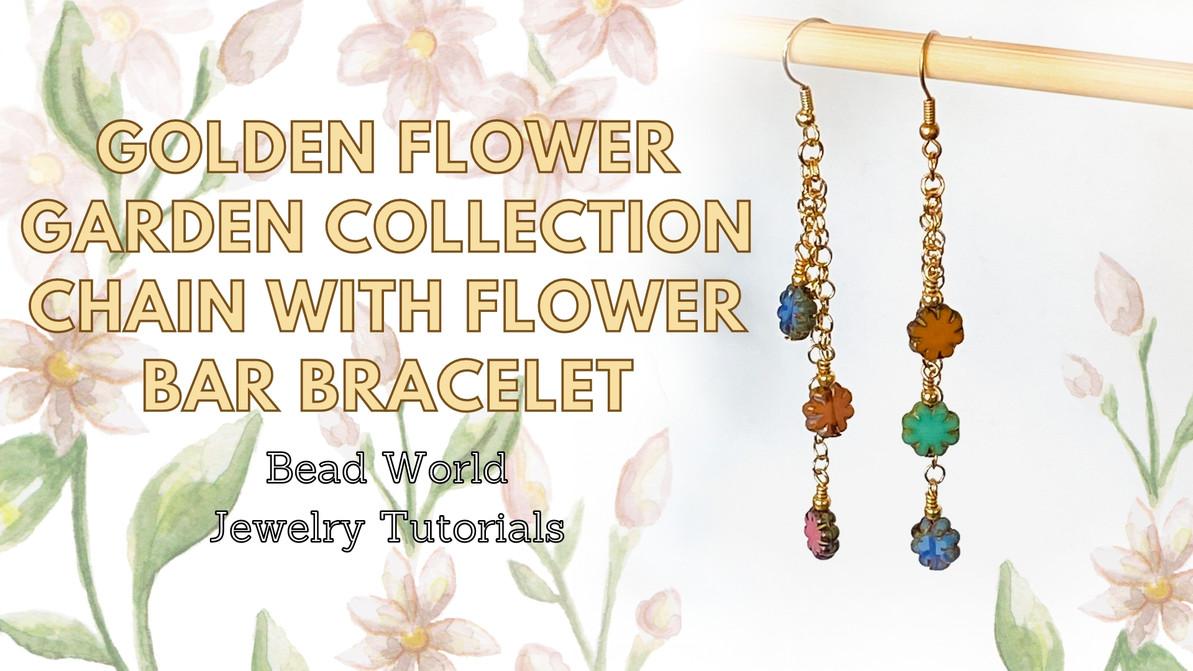 Golden Flower Garden Collection - Three Flower Drop Earrings