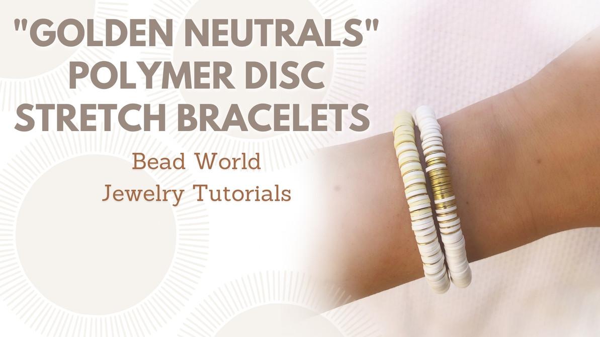 """Golden Neutrals"" Set of Two Polymer Disc Stretch Bracelets"