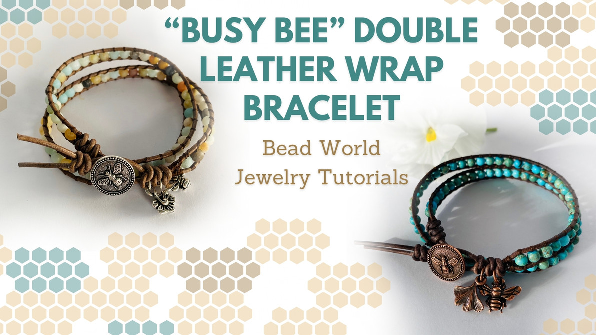 "​""Busy Bee"" Double Leather Wrap Bracelet"