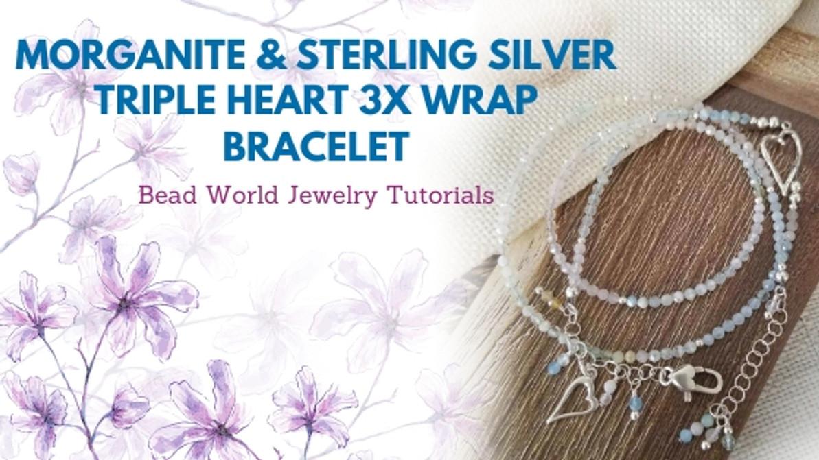 Morganite & Sterling Silver Triple Heart 3x Wrap Bracelet