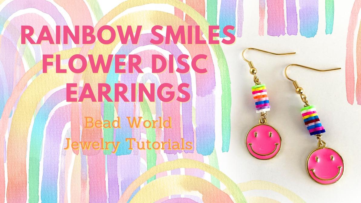 Rainbow Smiles Flower Disc – Earrings