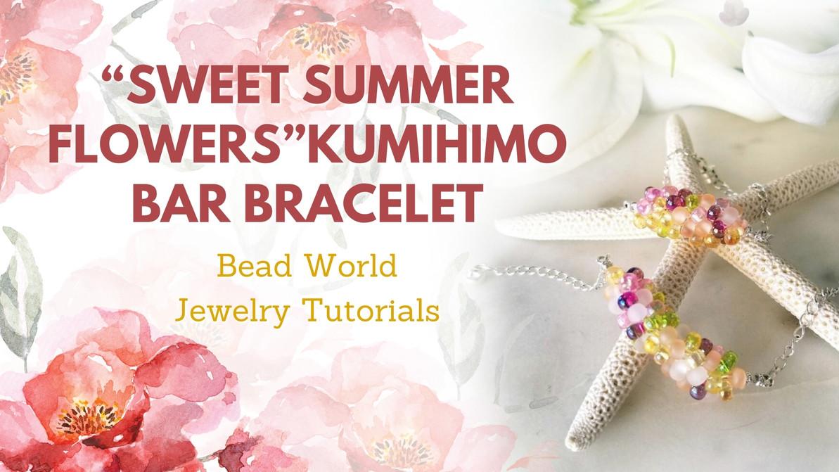"""Sweet Summer Flowers"" Kumihimo Bar Bracelet"