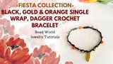 Fiesta Collection – Black, Gold & Orange Single Wrap, Dagger Crochet Bracelet