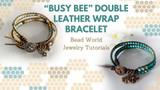 """Busy Bee"" Double Leather Wrap Bracelet"