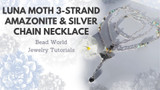Luna Moth 3-Strand Amazonite & Silver Chain Necklace