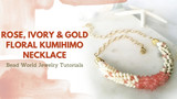 ​Rose, Ivory & Gold Floral Kumihimo Necklace