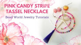 ​Pink Candy Stripe Necklace with Purple Silk Tassel