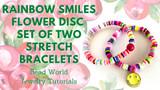 Rainbow Smiles Flower Disc - Set of Two Stretch Bracelets