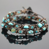 ​Natural Turquoise & Swarovski Crystal Spanish Crochet Bracelet Tutorial