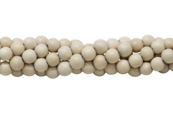 White Wood Natural Polished 8mm Round