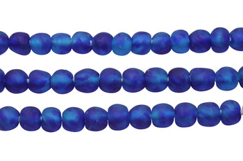 Recycled Glass 10-12mm Round - Royal Blue