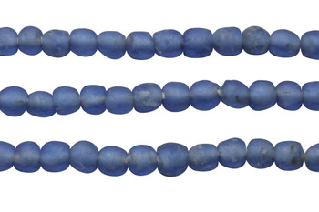 Recycled Glass 9-10mm Round - Denim Blue