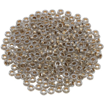 Size 6 Toho Demi Round Seed Beads -- Crystal / Gold Lined